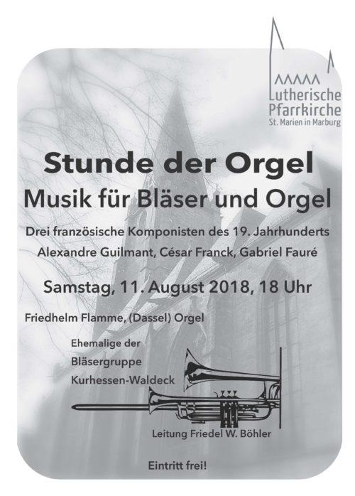 Plakat zur Stunde der Orgel - Musik für Bläser und Orgel, französische Komponisten des 19. Jahrhunderts