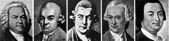 Portraits von Bach und vier Söhnen