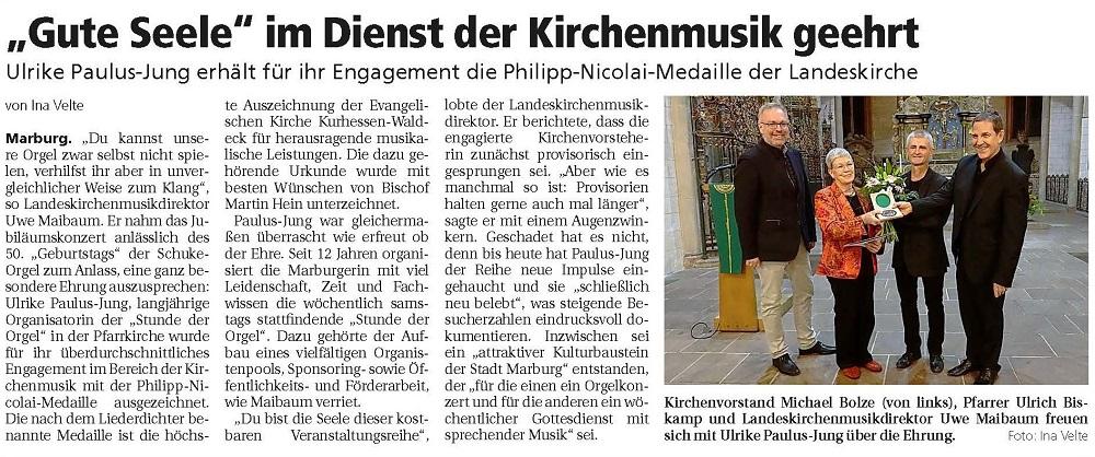 Übergabe der Philipp-Nikolai-Medaille an Ulrike Paulus-Jung, Zeitungsausschnitt aus der Oberhessischen Presse vom 4. November 2019
